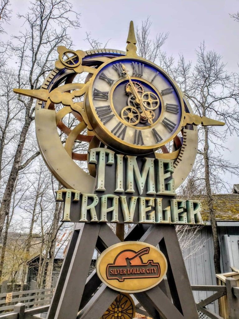 silver dollar city, time traveler ride in silver dollar city, time traveler roller coaster