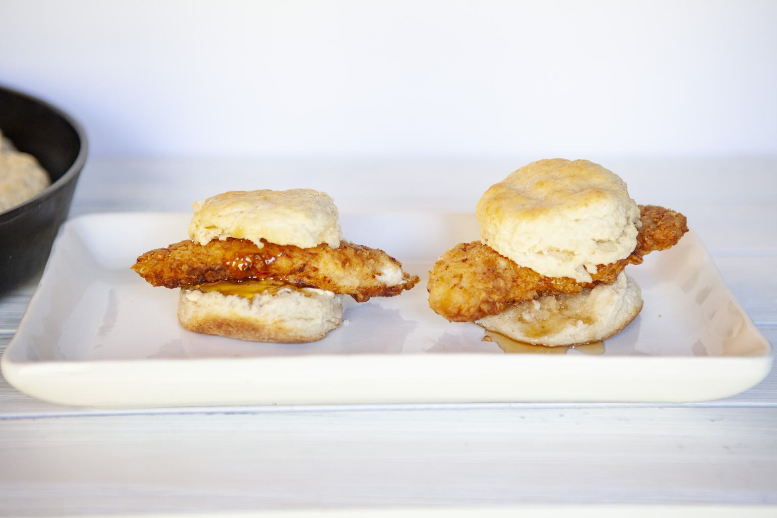 Spicy cajun Chicken Biscuits made with homemade buttermilk biscuits