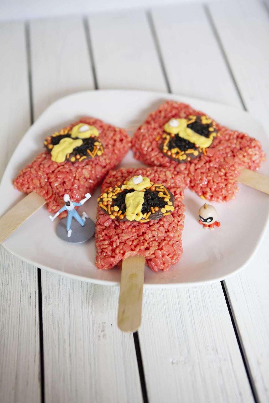 Incredibles 2 Recipe, Incredibles Rice Krispy Pops, Rice Krispy Recipes, Incredible 2 Movie Recipes