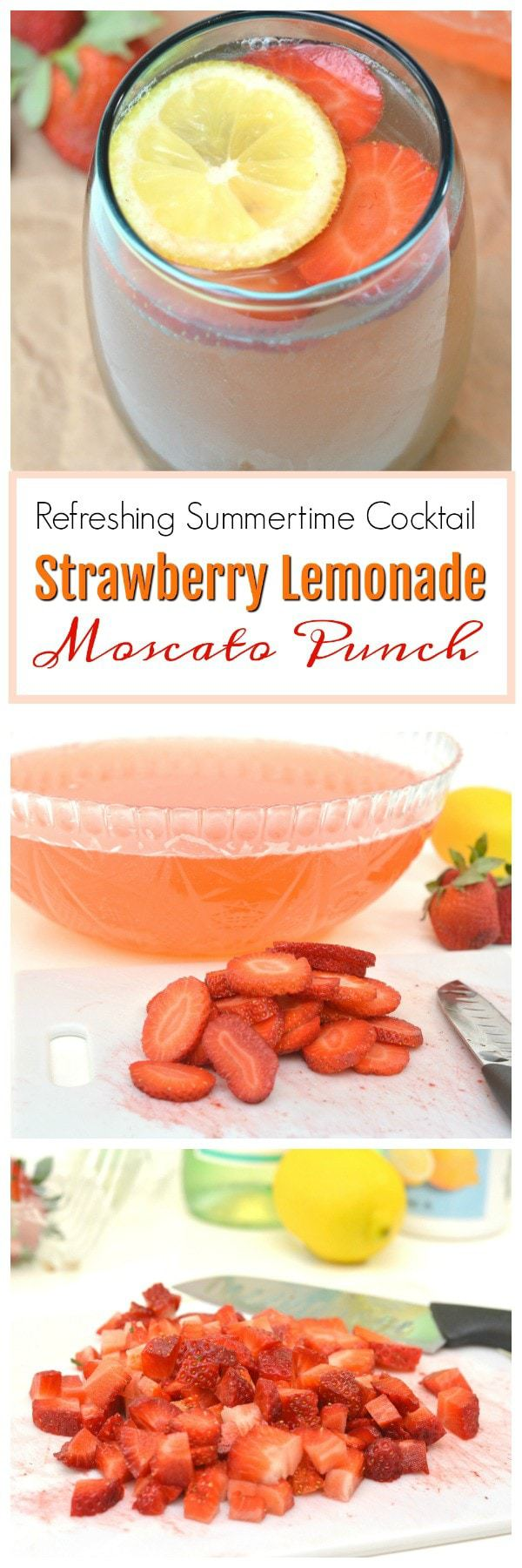 When you think of sitting in the sun, sipping on a refreshing adult beverage, what better drink to make that reality happen than with a Strawberry Lemonade Moscato Punch. #MoscatoPunch #RefreshingCocktails