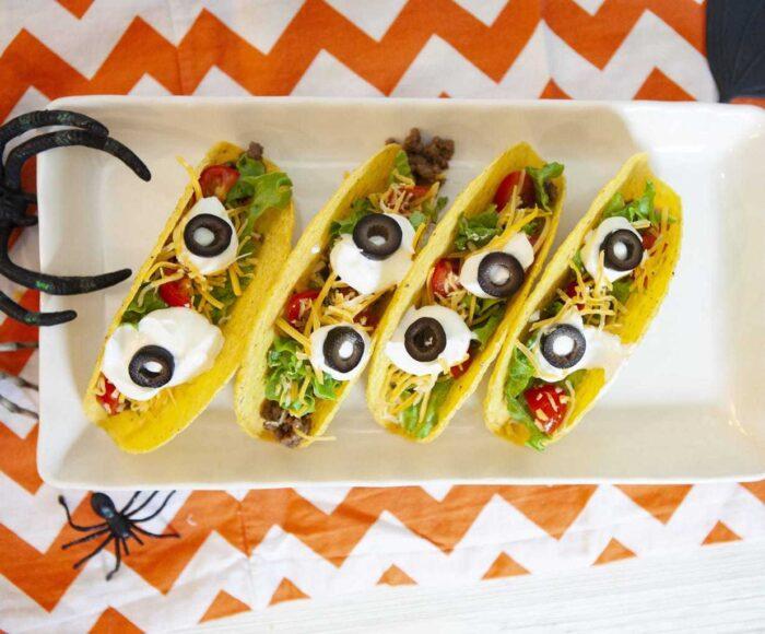 Eyeball Tacos, Tacos de Ojos, Halloween Dinner Recipes for the kids