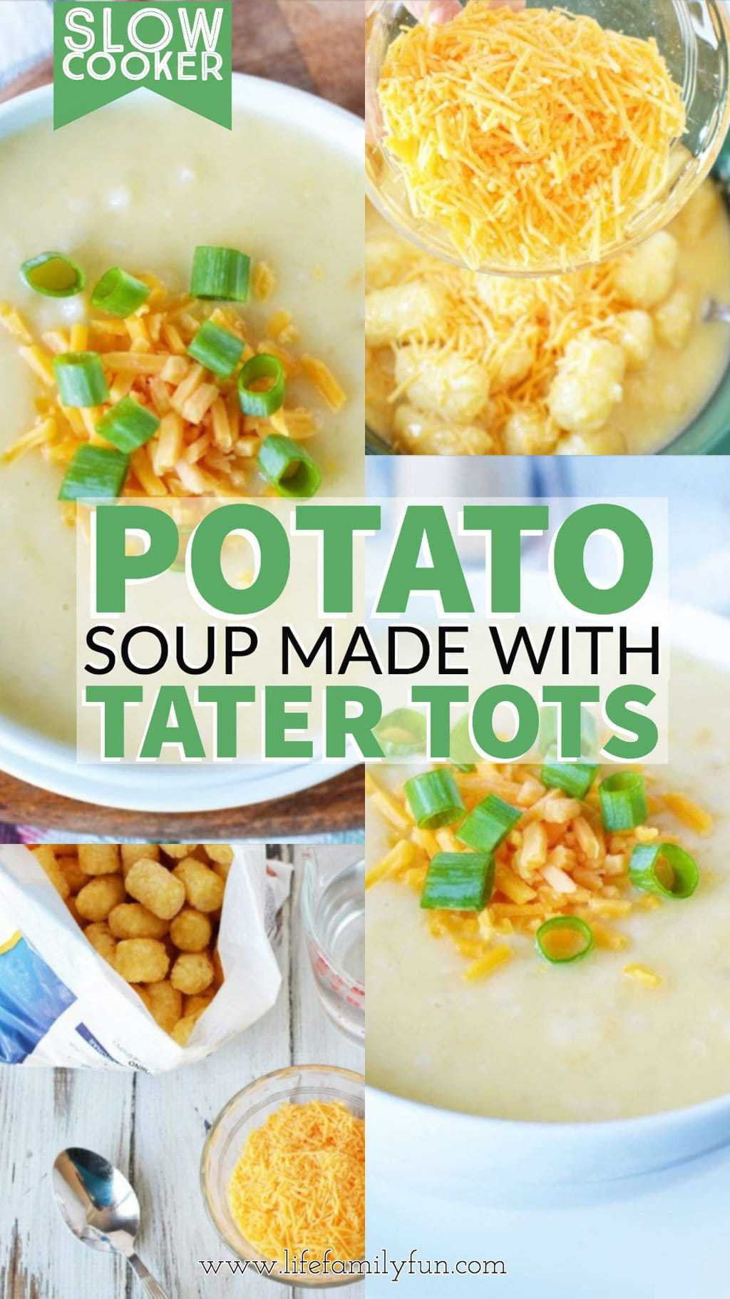 Slow cooker Potato Soup with Tater Tots
