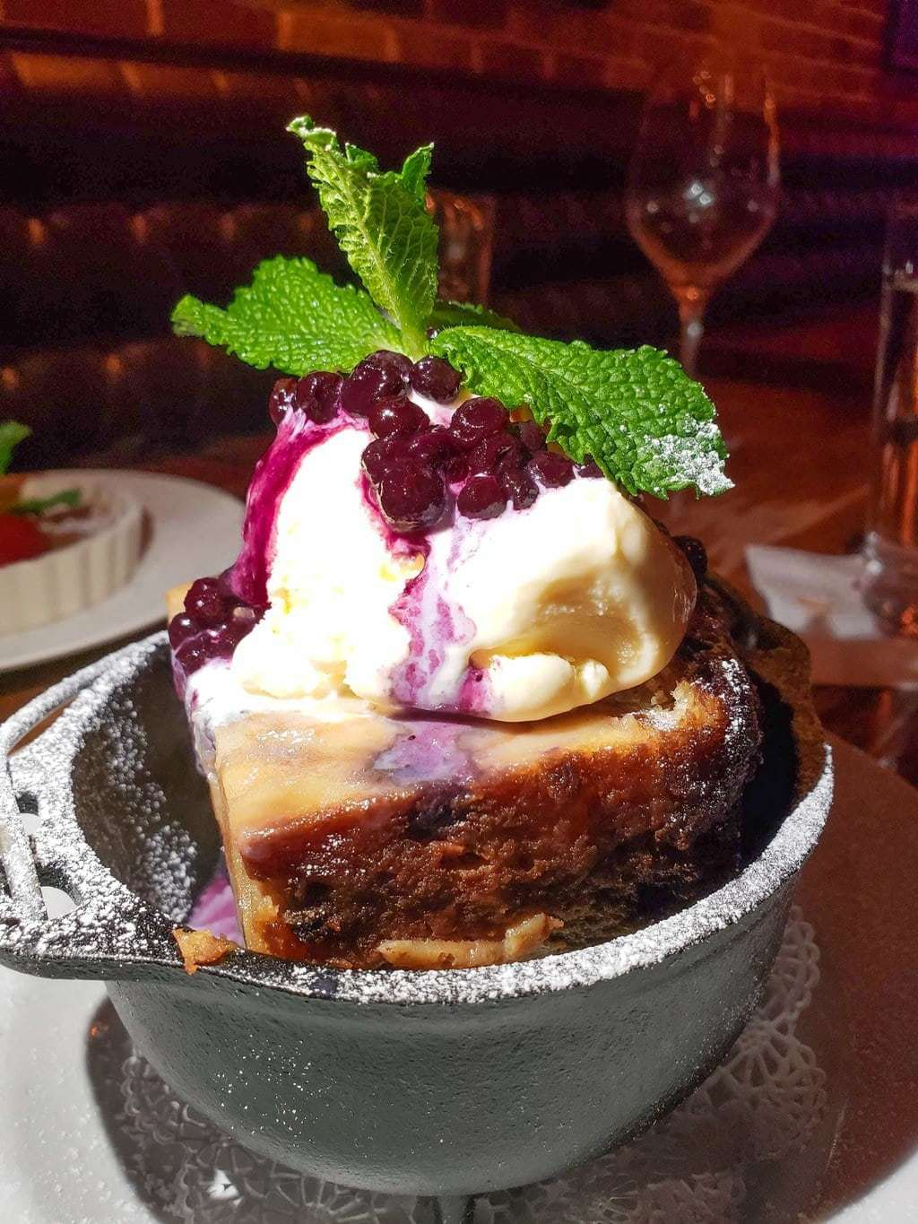 warm bread pudding, salt factory menu