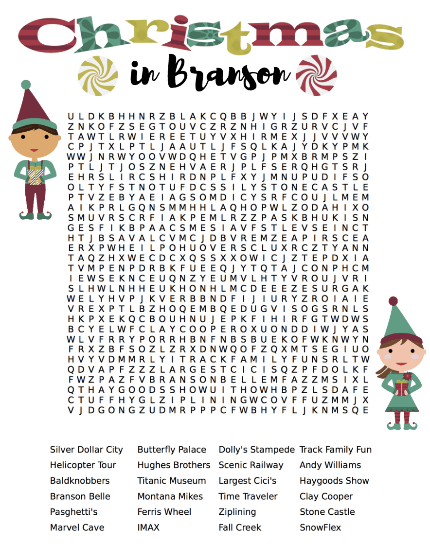 Christmas in Branson Word Search
