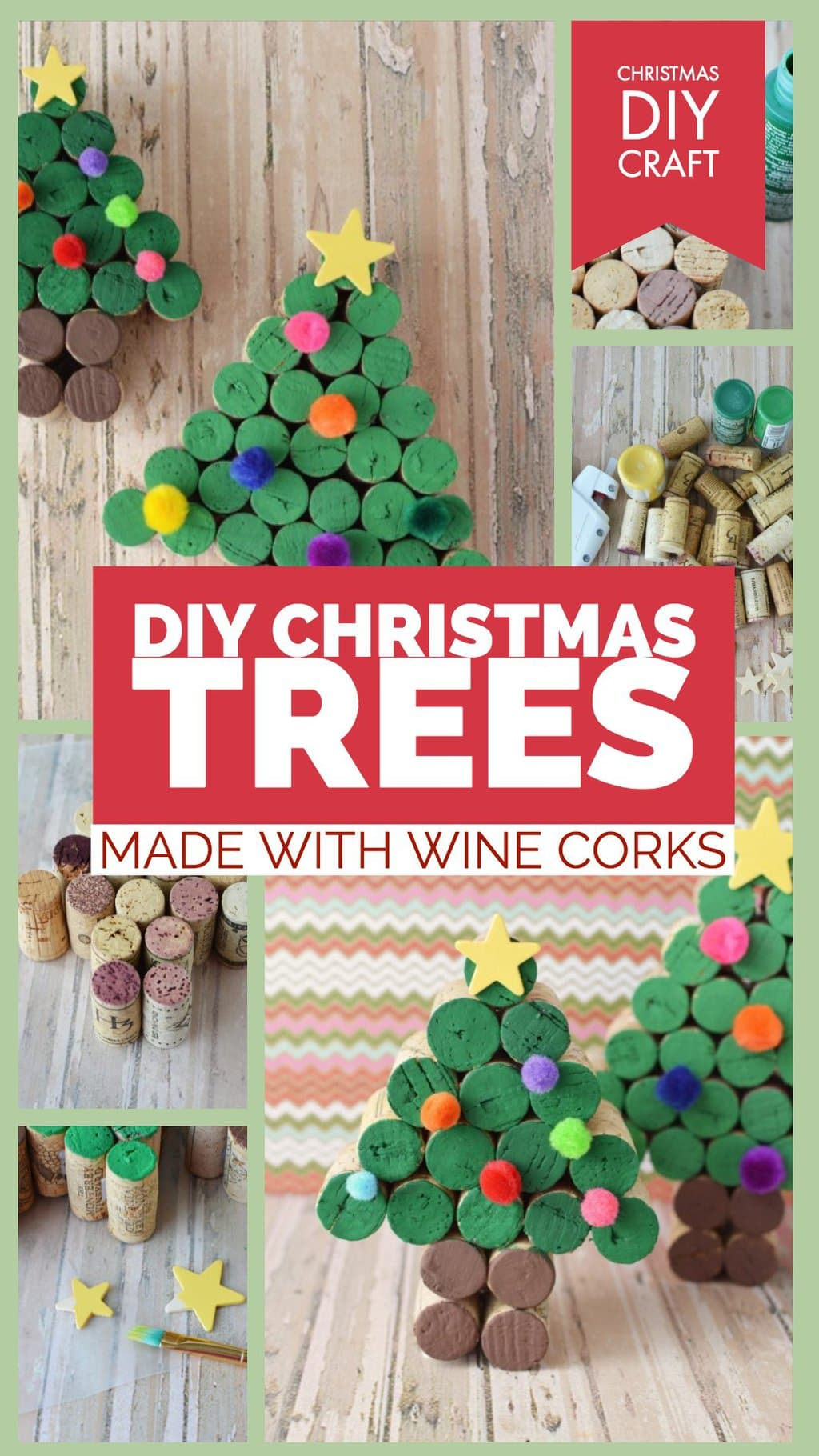 Wine Cork Craft, DIY Wine Cork Craft for Christmas, Christmas Trees made out of wine corks