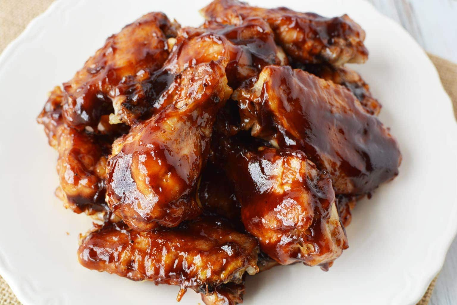 a plate of BBQ Wings