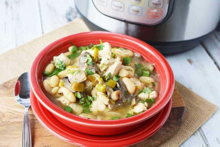 Instant Pot White Chicken Chili With Mushrooms - Protein Packed Soup
