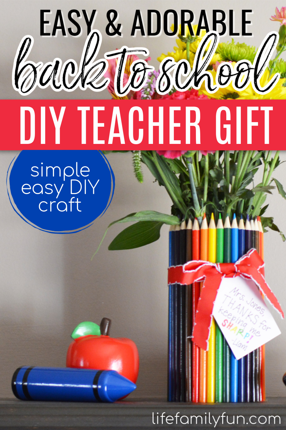 diy teacher gift with colored pencils, pinterest pin