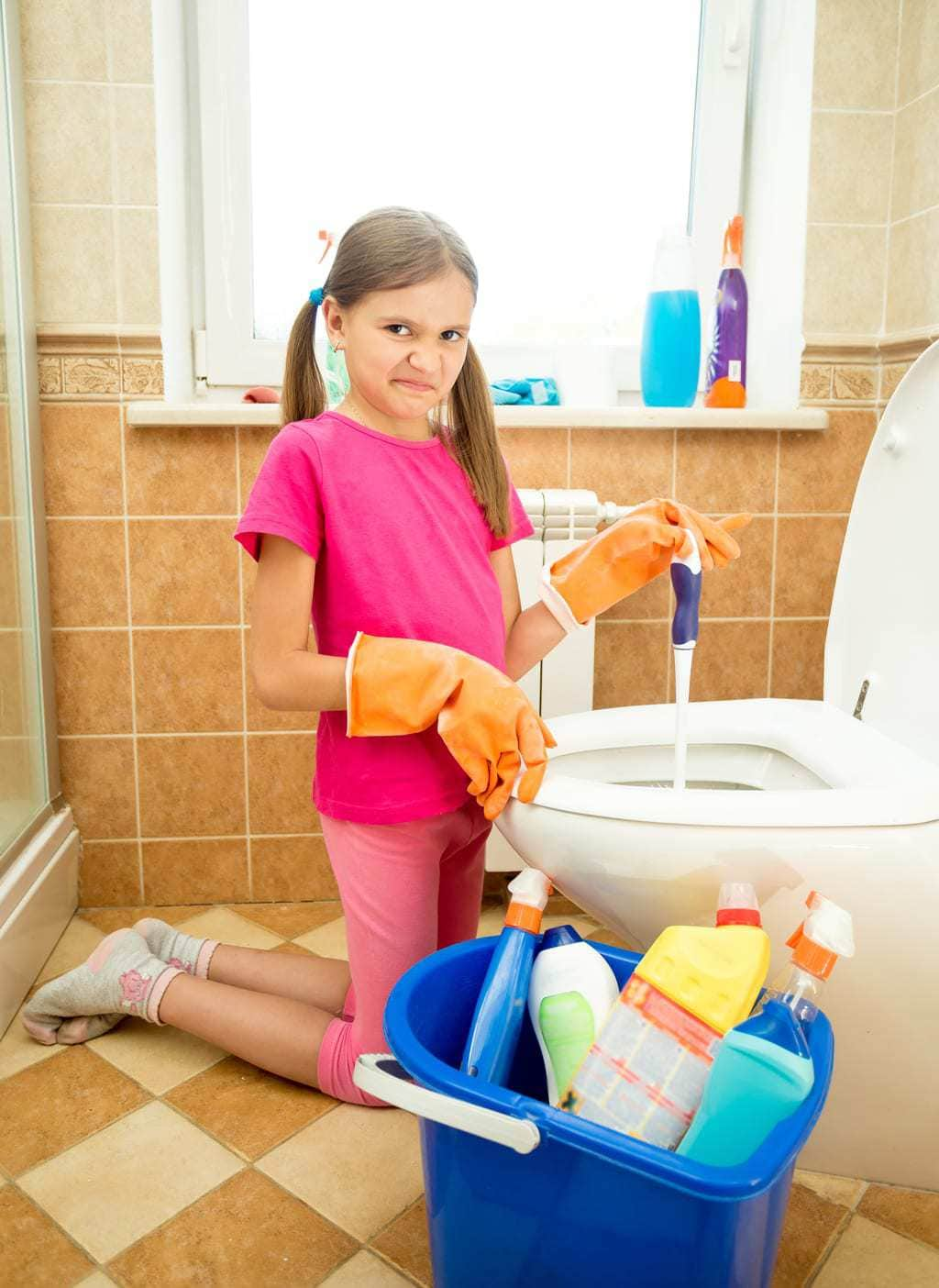 clean bathroom with kids