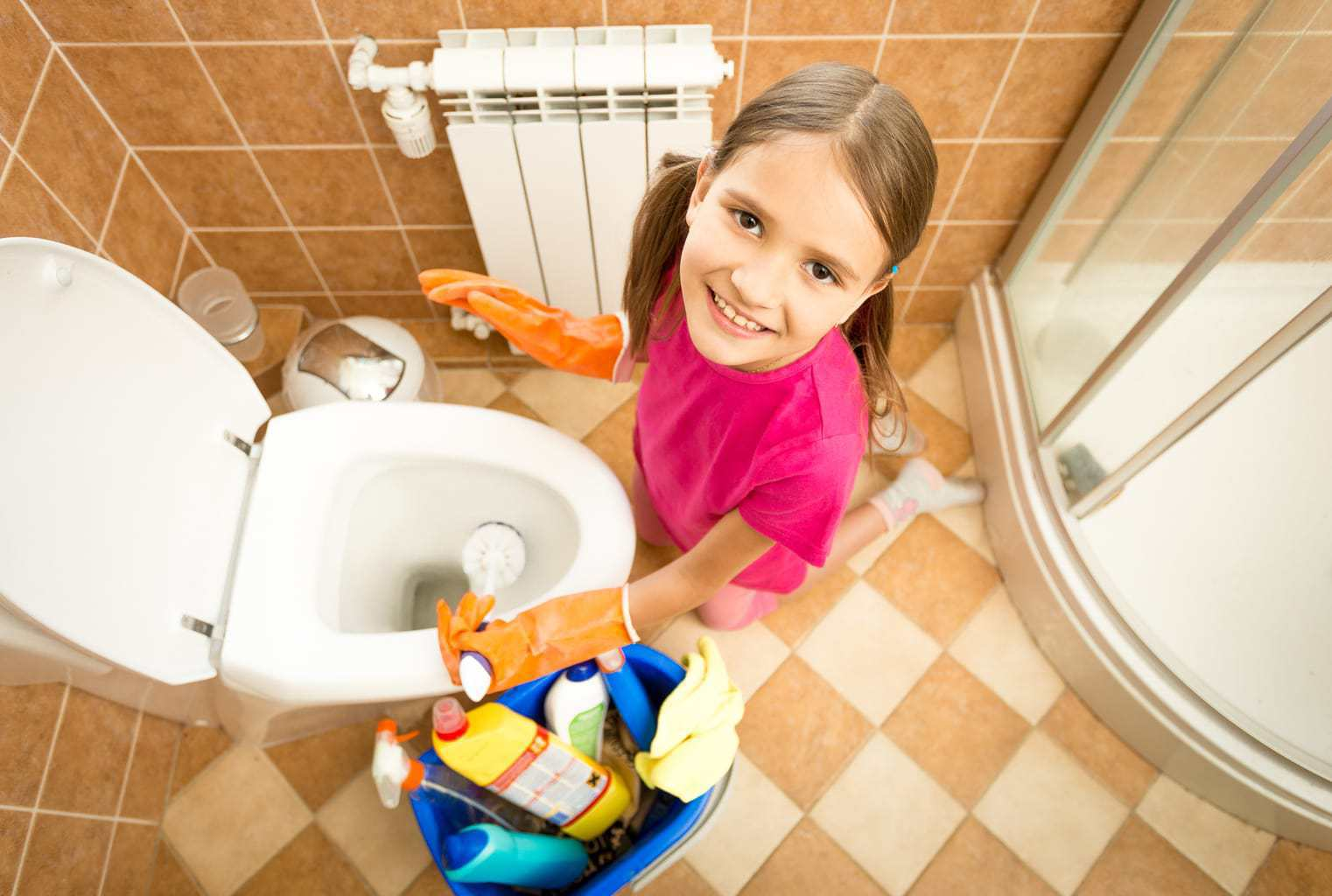 Children Cleaning Toilets