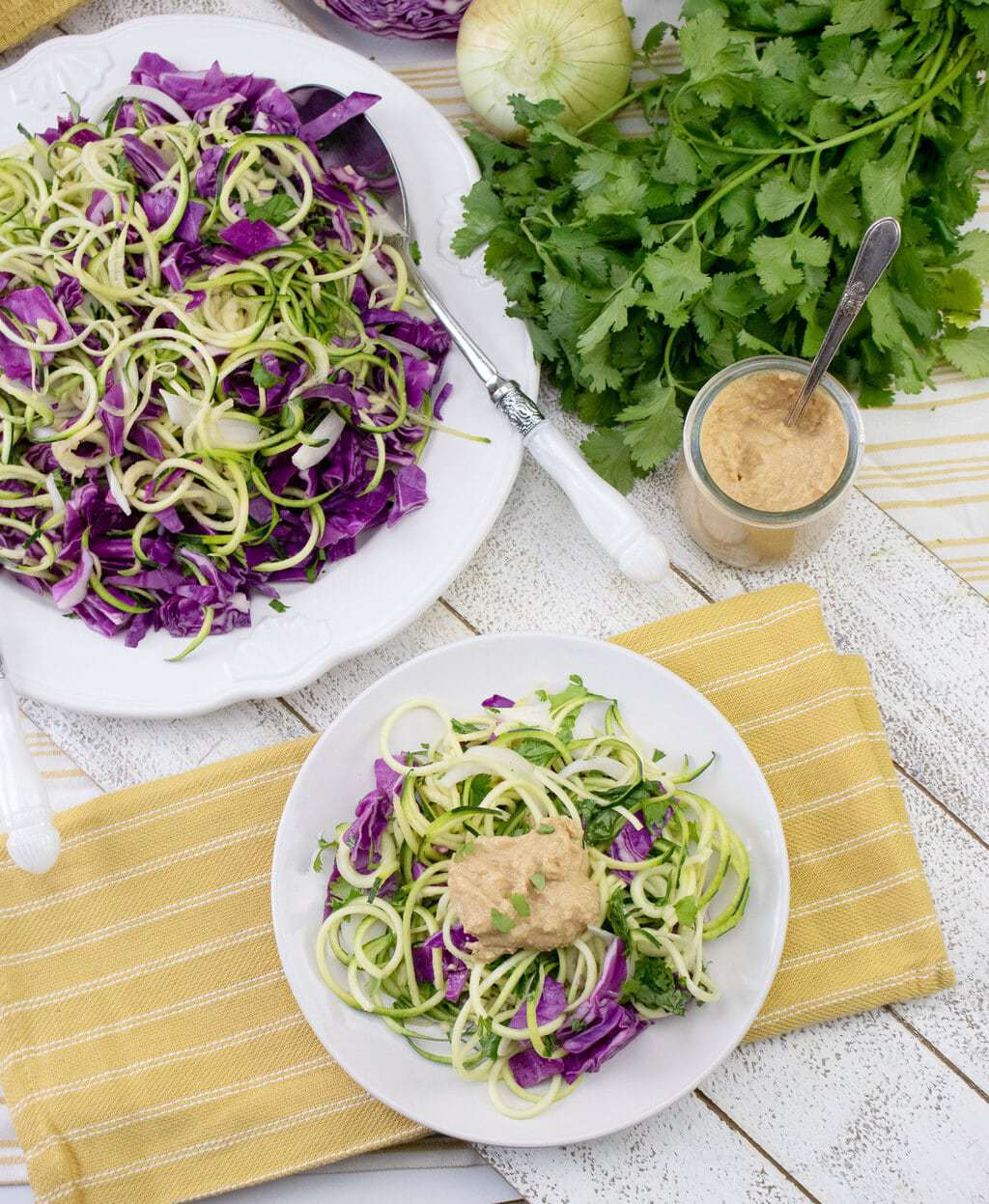 Mediterranean Zucchini Noodles made From Scratch Peanut Sauce