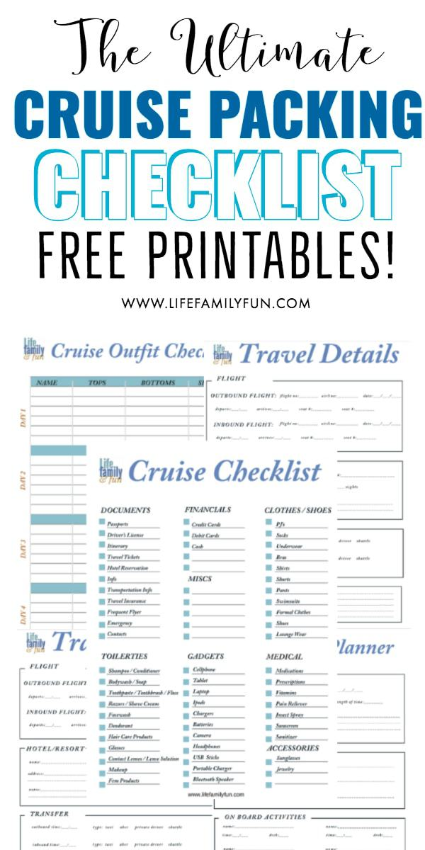 Cruise Packing List Free Printable