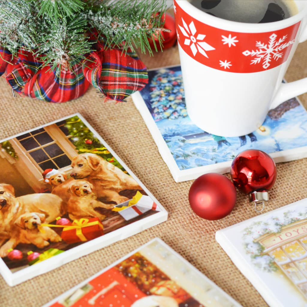 Diy Christmas Coasters Made Out Of Christmas Cards And Tile Squares