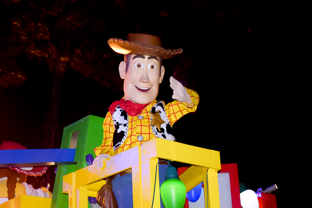 Once Upon a Christmastime Parade in Magic Kingdom, Sheriff Woody from Toy Story