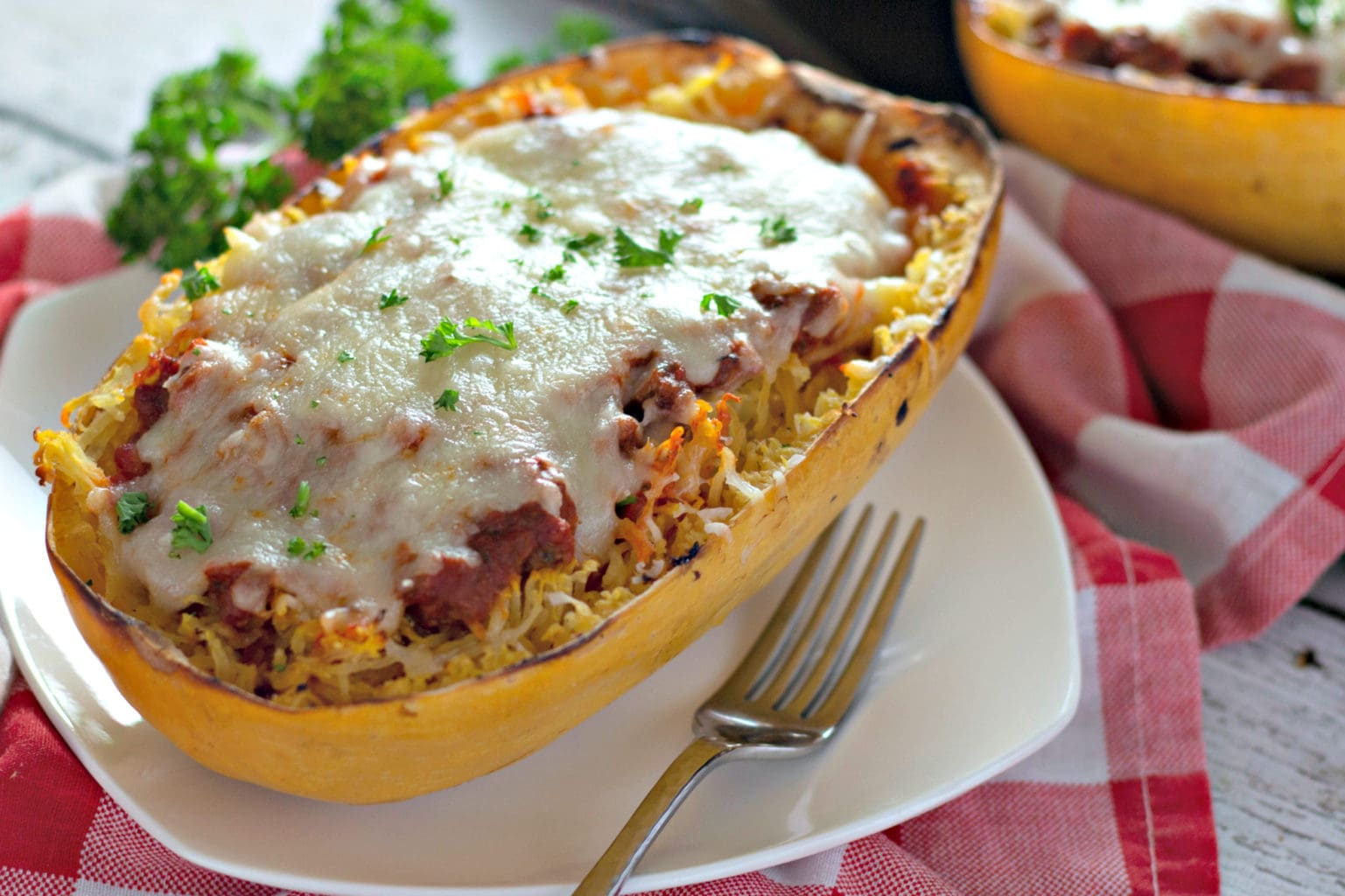 baked spaghetti squash recipe stuffed with meat sauce