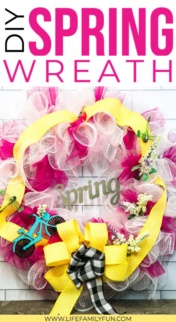 DIY Deco Mesh Wreath for Spring