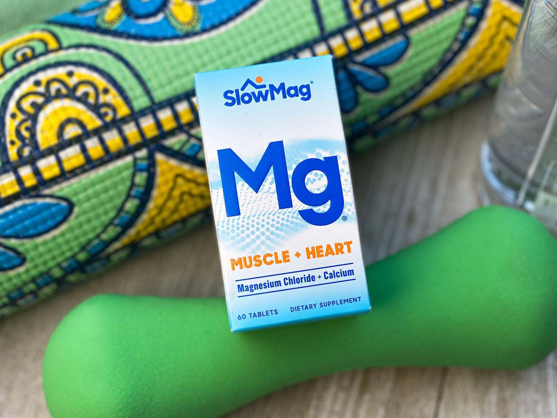 A bottle of SlowMag Mg tablets