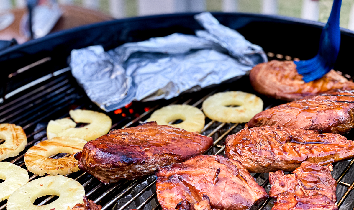 chicken and pineapples on grill