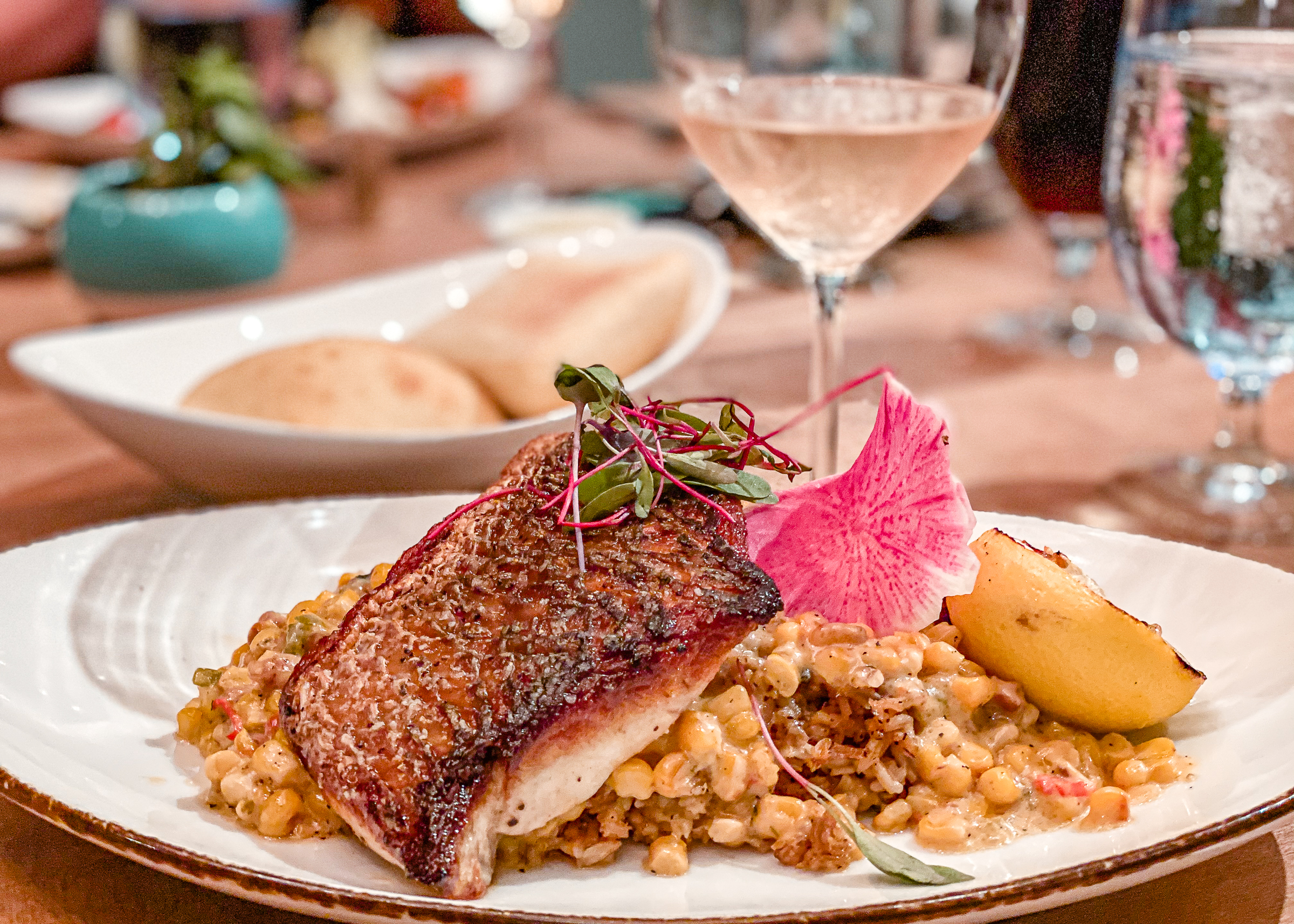 Red Fish Served over Dirty Rice, Corn Mauque Choux