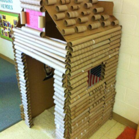 caradboard box house Cardboard Log Cabin