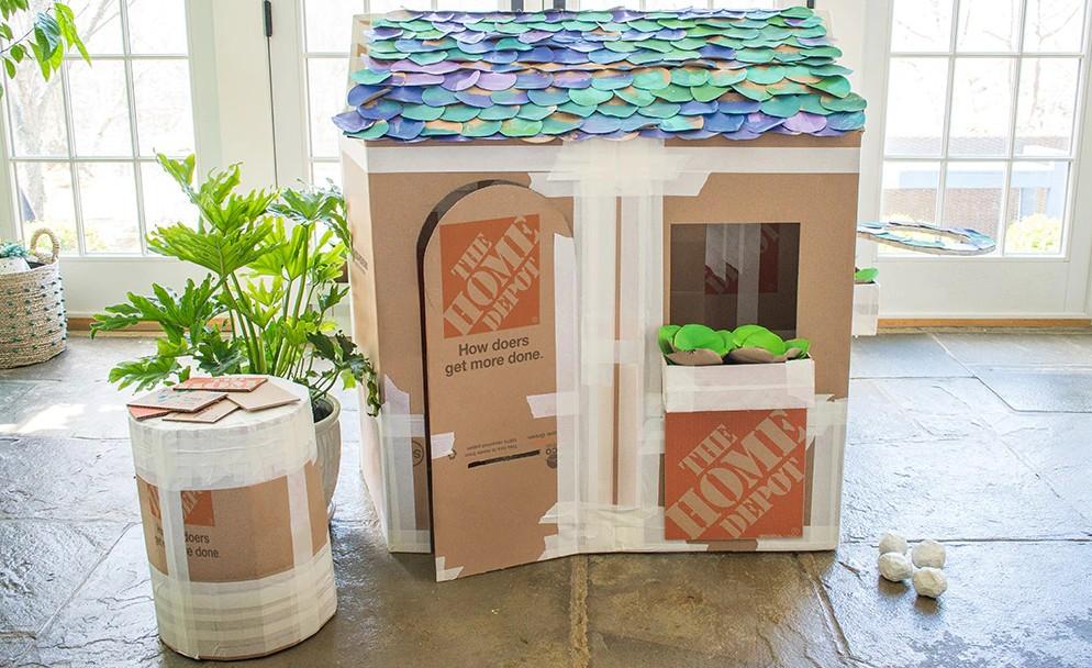 cardboard box house Fancy Cardboard Home With Window Boxes