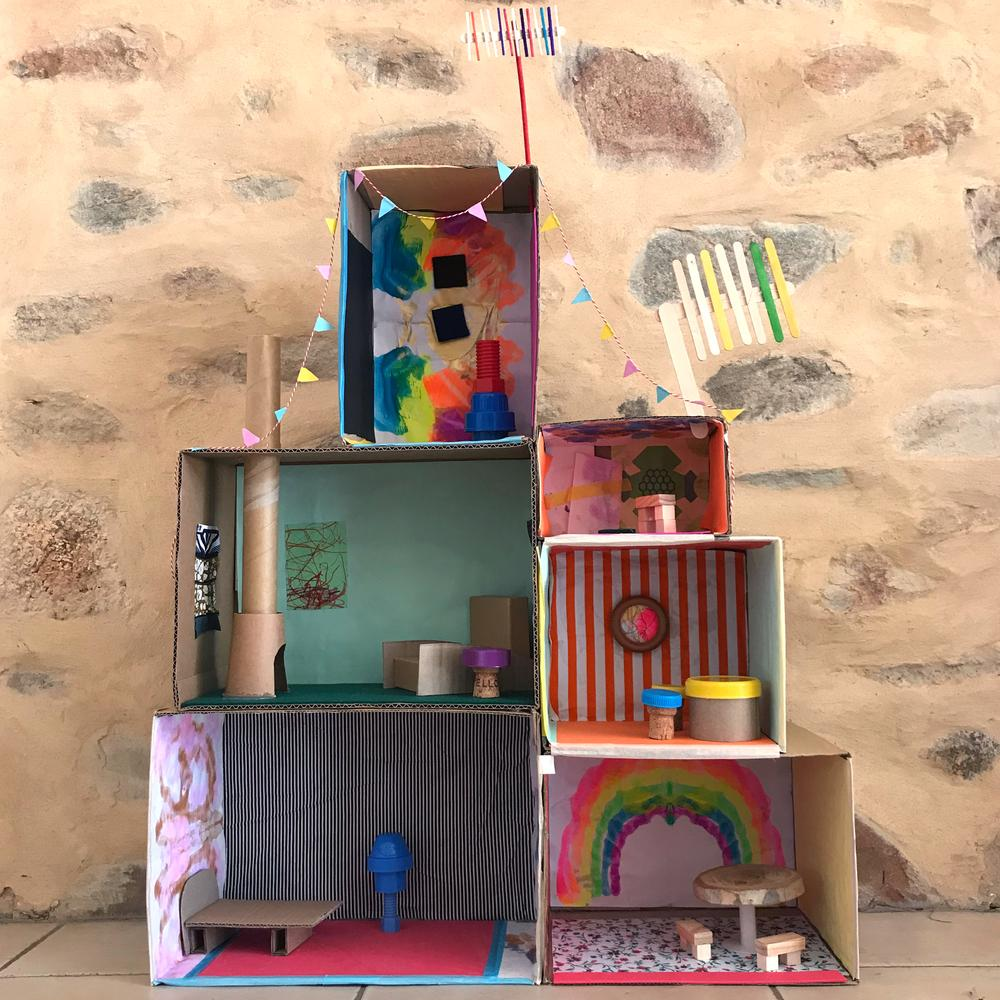 cardboard box house Multi-Level Cardboard Box Doll Home