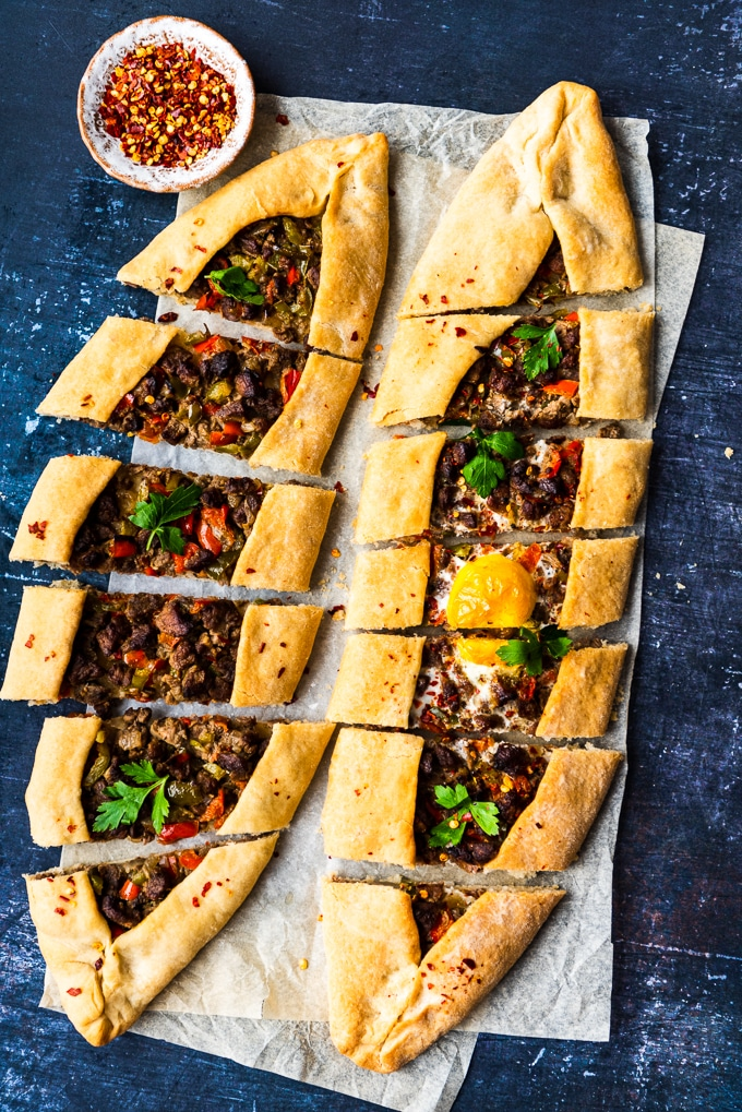 Turkish Pide Stuffed with Beef