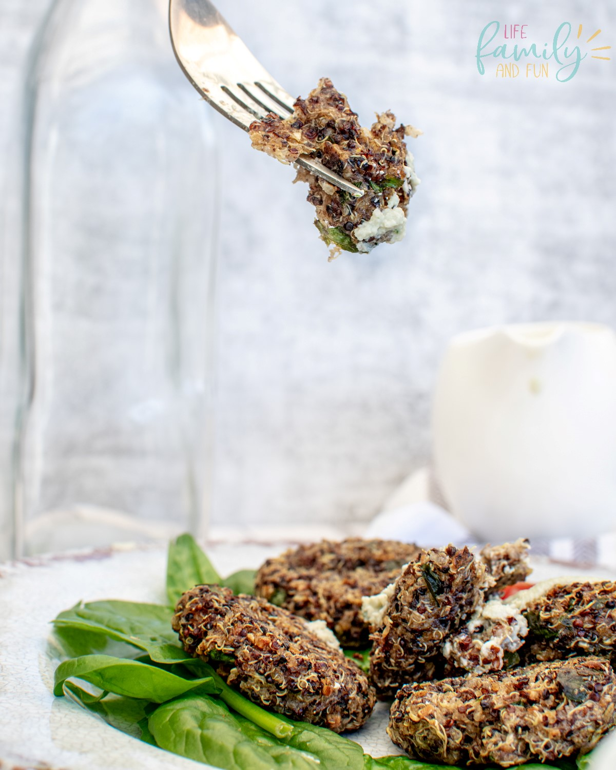 plate of fried quinoa cakes