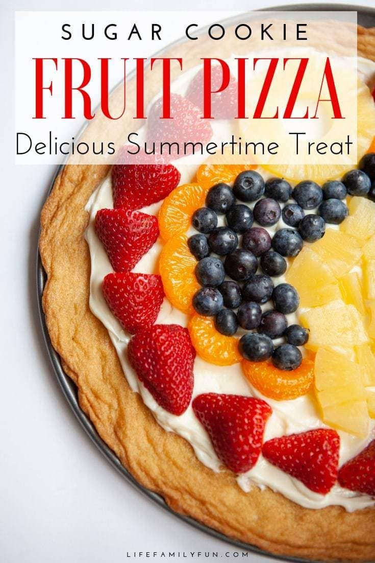Make this Sugar Cookie Fruit Pizza! The fruit on top can be decorated any way that you like. This colorful Fruit Pizza is perfect for your Summer picnics and 4th of July parties.