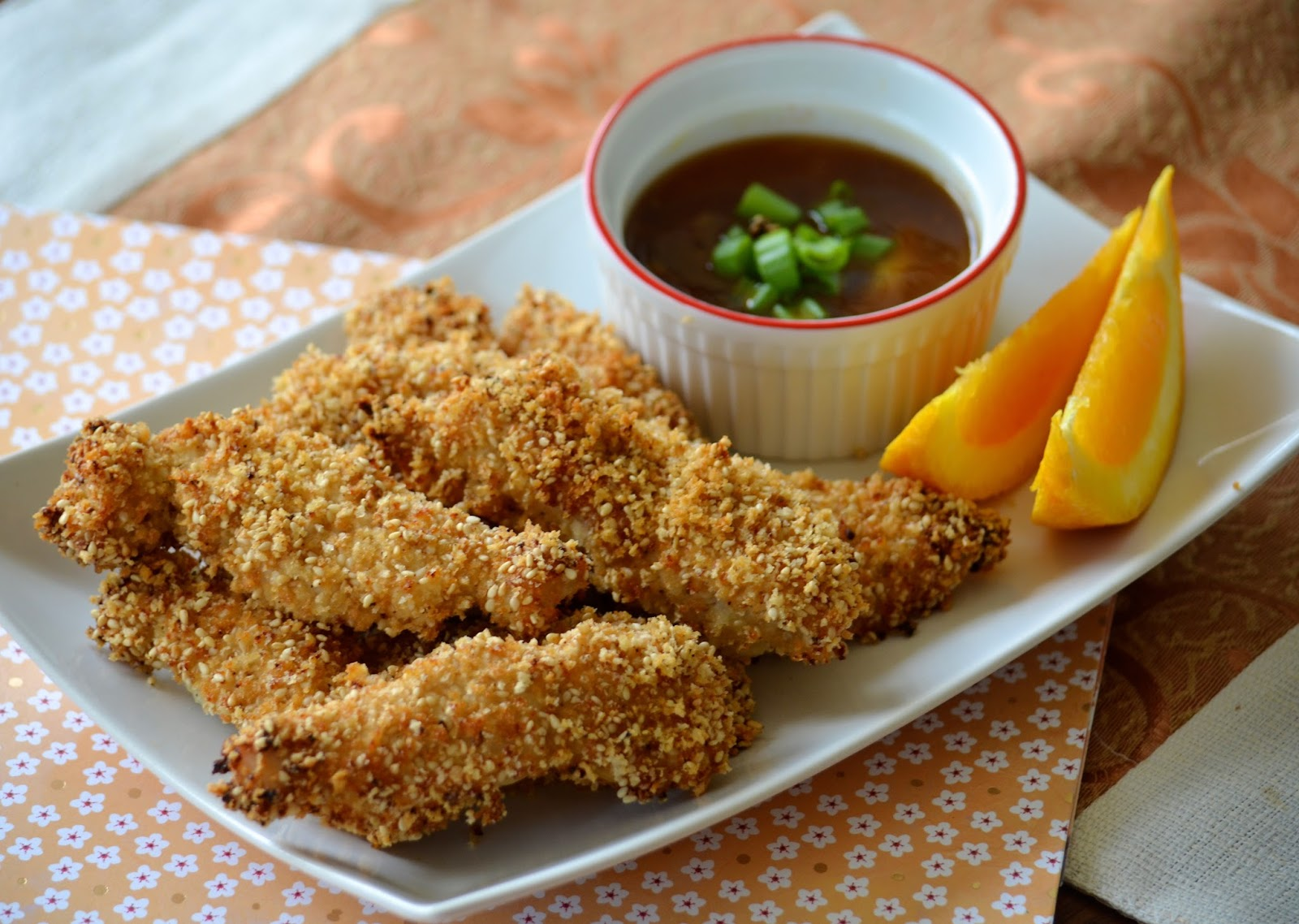 Sesame Chicken Fingers with Spicy Orange Dipping Sauce