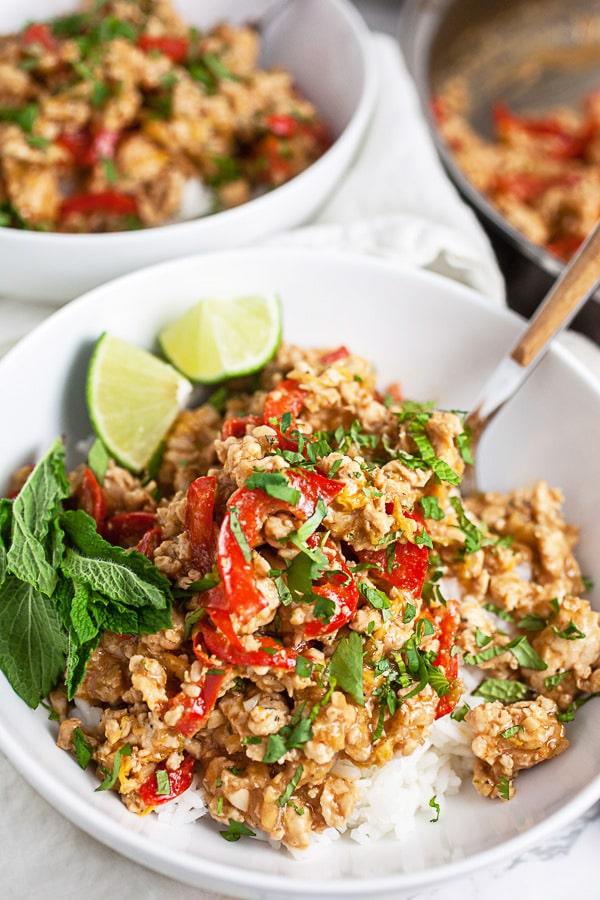Sesame Ground Chicken Rice Bowls