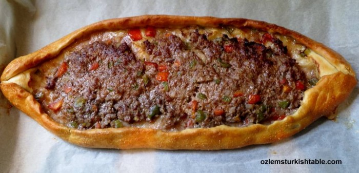 Turkish Pide with Ground Meat and Vegetables