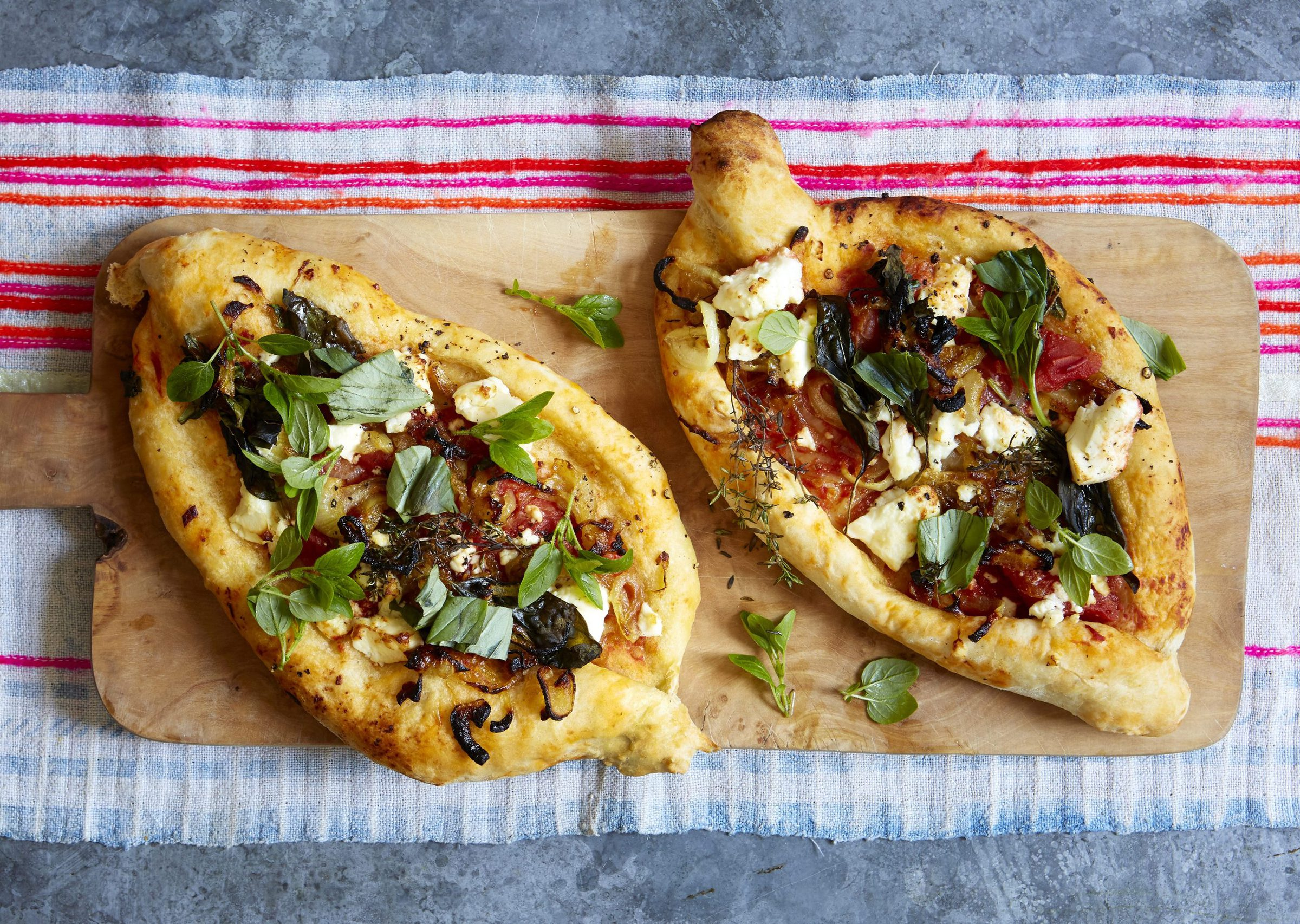 Turkish Pide with Tomato and Feta